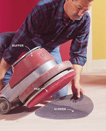 Using a screen and floor buffer is a quicker way to refinish a hardwood floor.