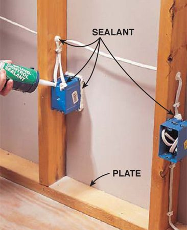 <b>Photo 2: Seal the boxes</b></br> <p>Seal around electrical boxes that serve adjacent rooms. Also seal openings in the boxes, holes through studs and plates, and any openings in the drywall or framing. Use acoustical sealant or silicone caulk.</p>