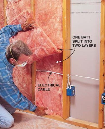 "<b>Photo 3: Insulate the walls</b></br> <p>Fill stud cavities with R-11 fiberglass batts. The insulation should completely fill each cavity without open gaps or pockets. ""Split"" the insulation to fit around pipes or electrical cable. Cut the insulation with a utility knife so it fits squarely around electrical boxes. Wear gloves, a dust mask and eye protection when working with fiberglass.</p>"