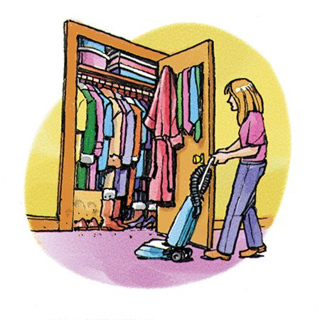 <b>Fig. D: Vacuum closets</b></br> <p>Clothes closets collect a lot of fabric filaments and skin flakes, especially when clutter makes vacuuming difficult.</p>