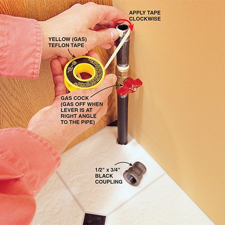 <b>Photo 2: Wrap the pipe threads</b></br> <p>Wrap Teflon pipe-joint tape twice around the threads in the same direction that the fitting screws on (clockwise). Yellow Teflon tape, heavier than white, is meant for gas fittings. The 1/2-in. x 3/4-in. coupling accommodates the 3/4-in. end connector fitting (Photo 3), since connectors with 1/2-in. end fittings at both ends are not always readily available.</p>