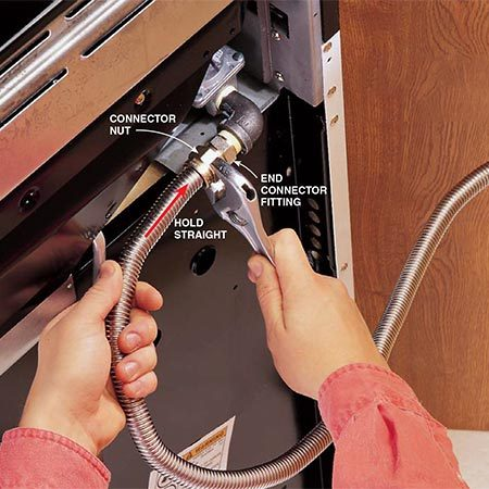 <b>Photo 5: Tighten the nuts</b></br> <p>Tighten the connector nuts to the two end connector fittings. While tightening the nuts, hold the tube straight against the fitting. Do NOT use Teflon tape on these threads. The beveled edges of the end fittings are meant to form a tight seal against the ends of the corrugated tube. Using tape can interfere with this seal.</p>