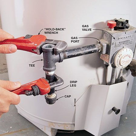 "<b>Photo 3: Unscrew the tee</b></br> <p>Remove the two short vertical lengths of pipe that run above and below the tee fitting. Then unscrew the tee along with the short horizontal length of pipe running to the heater's gas port. Always use a second ""hold-back"" wrench, as shown here and in Photo 4, to prevent damage to the heater's gas port and gas valve. The ""drip leg""and cap shown here is required to prevent debris from clogging the gas valve.</p>"
