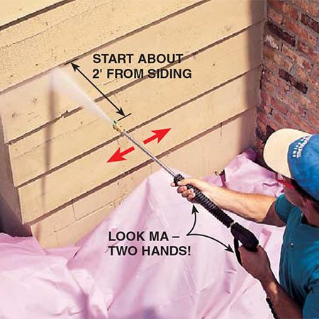 <b>Photo 4: Practice first</b></br> <p>Practice handling the washer in a low area first. Hold the wand with two hands and move it across the siding from side to side at a steady pace. Start about 2 ft. from the siding, then move closer until you find the optimal cleaning distance. In general, work at a horizontal or slightly downward angle to avoid driving water up under the siding.</p>