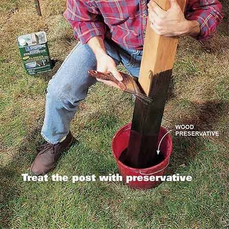 <b>Treat the post with preservatives</b></br> <p>Soak the bottom of the posts in a wood preservative containing copper napthanate, such as Cuprinol.</p>