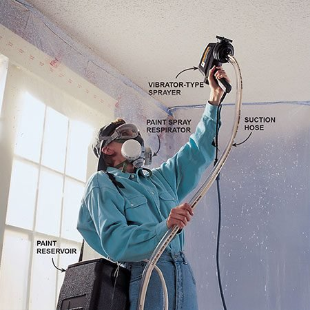 <b>Paint unpainted textured ceilings with a vibrator-type paint sprayer</b></br> <p>Test the water solubility of your popcorn ceiling. If the texture becomes soft, the best way to paint it is with a vibrator-type spray gun.</p>