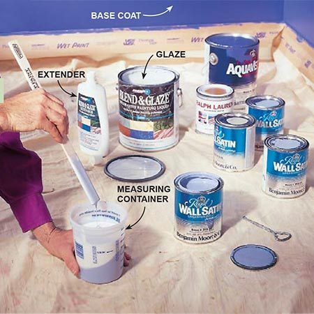 <b>Photo 1: Mix paint with glaze</b></br> <p>Mix the paint with glaze according to the glaze manufacturer's instructions (we mixed one part paint with four parts glaze). Extender, which thins the mix and slows drying, is optional. Save and label a small amount of all your colors. You can use them to cover stains or make repairs years from now.</p>  <p>(<b>Editor's note</b>: Paint labels have changed since this project was done, but the paints and the glaze are still available. The base coat is a low-gloss eggshell finish; subsequent coats flat, but you can use whatever sheen you like.)</p>