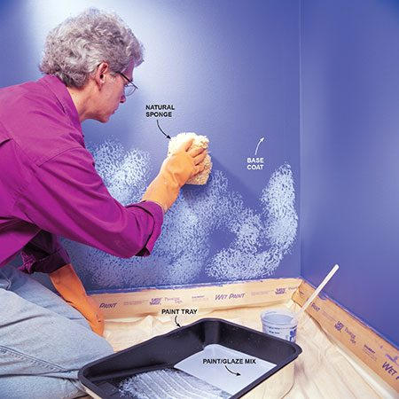How to sponge paint a wall the family handyman Grey sponge painted walls