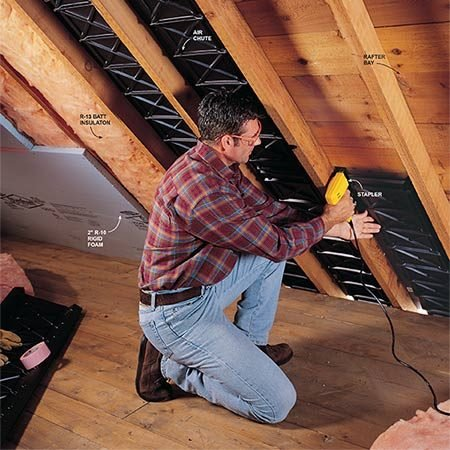 <b>Air chute installation is easy</b></br> Air chutes come in 4-ft. lengths and 14-1/2 and 22-1/2 in. widths. Staple them directly to the roof decking.