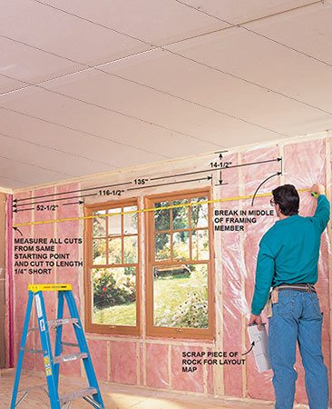 <b>Photo 4: Measure the upper sheet</b></br> <p>Measure the distance from a wall corner to the center of a framing member, also recording distances for cutouts and door and window openings. Avoid placing joints over doors and window corners, where they may crack.</p>