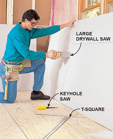 <b>Photo 5: Cut the openings</b></br> <p>Cut window and door notches from a single sheet by sawing sides with a drywall saw. A keyhole saw is slower, but it is an acceptable substitute for long cuts.</p>
