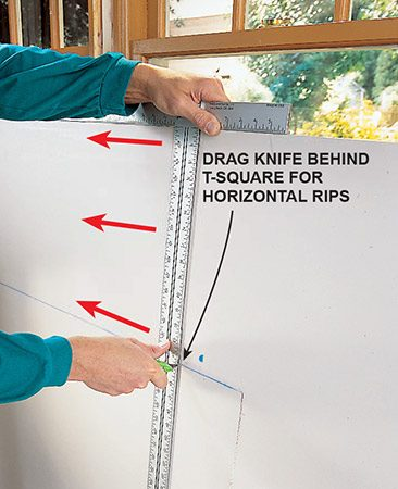 <b>Photo 6: Finish the cut</b></br> <p>Score the third side of the notch with a utility knife, snap the section loose and complete the cut from the backside.</p>