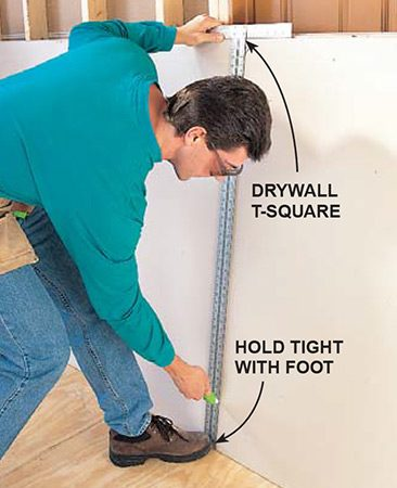 <b>Scoring drywall</b></br> <p>Measure the length needed and score the paper face with a utility knife, using a drywall square as a straightedge.</p>
