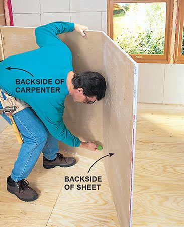 <b>Snapping drywall</b></br> <p>Snap the sheet, fold it open and cut through the paper on the backside.</p>
