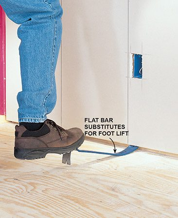 <b>Foot lift alternative</b></br> <p>If you don't have a foot lift handy, just use a flat bar. You may need to use a piece of wood under the flat bar for more leverage.</p>