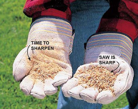 <b>Photo 1: Check the waste to tell if it's time to sharpen</b></br> Check the waste material from your saw cuts. Dust means it's time to sharpen. Chips indicate that the cutters are sharp.