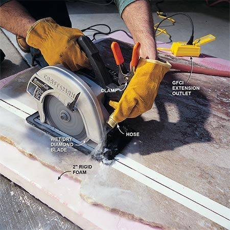 <b>Cutting marble</b><br/>Mark your cutting line on wide tape, direct a trickle of water onto the front of the blade and then make your cut. Remember to wear your gloves and eye and ear protection!
