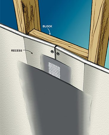 <b>Fig. C: Recessed butt joint</b></br> <p>Using blocks between studs or joists, you can create a recess at butt joints, making them as easy to tape as tapered joints.</p>