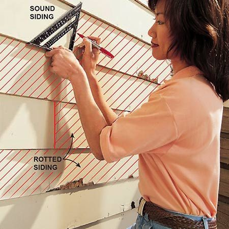 <b>Evaluate the boards</b></br> <p>Decide which boards need replacing and where to make your cuts. Stagger butt joints if you're replacing multiple courses. Use a square to mark the cutting lines, centered on a stud. The nailheads on existing siding will indicate stud positions.</p>