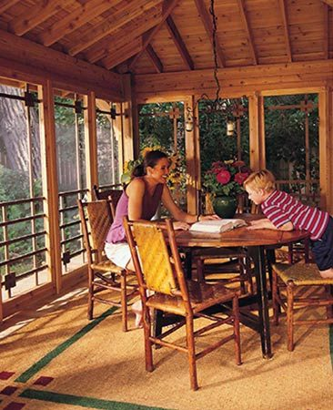<b>Porch interior</b></br> <p>The screen house, built as shown in the plans below, is large enough for two families to while away the best of days in. The warm glow, and the fresh scent of cedar, plus the detailed doors and a gorgeous 1x6 cedar board ceiling, make the inside of this screen house as inviting as its outside.</p>