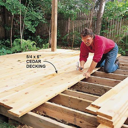 Attach the decking for the screen house to the joists.