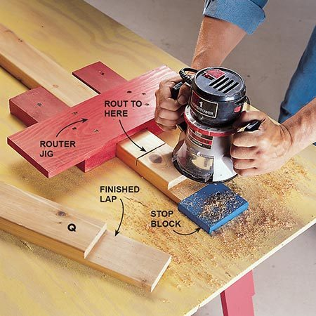<b>Photo 12: Cut the half laps</b></br> <p>Rout the laps for the door frame joints using a homemade router jig screwed to a plywood work surface. The door frames are made from 2x4 and 2x6 cedar. The side stiles and top rail are 2x4. The bottom rail is 2x6.</p>