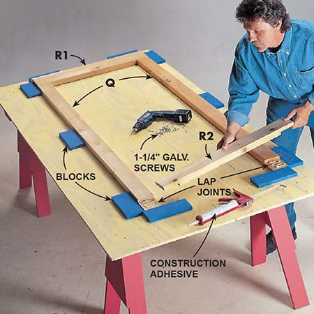 <b>Photo 13: Build the doors</b></br> <p>Assemble each door using a jig to ensure each frame is square. Apply construction adhesive to the lap joints on each corner, then screw the parts of each lap joint together with five 1-1/4 in. decking screws. Keep the screws at least 1 in. from the edges of the frame because you'll need to trim the door to size later.</p>