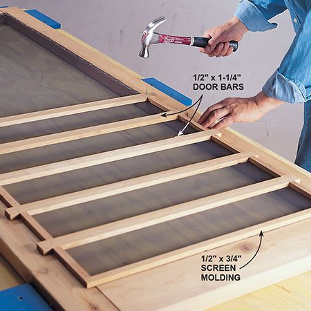 <b>Photo 15: Attach the trim</b></br> <p>Cut your screen molding and muntin trim to size from 2x6 cedar using a table saw. Attach the screen molding to the door frame using 3d galvanized finish nails.</p>