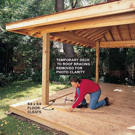 <b>Photo 16: Attach the cleats</b></br> <p>Install the floor cleats (P1 and P2) even with the outer edges of the posts. Then fasten the cleats to the stationary doors to secure them to the decking.</p>
