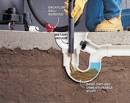 <b>Photo 2: Clean out the trap</b></br> <p>Vacuum out sand and dirt with a wet/dry vacuum. Loosen stubborn dirt or snag and retrieve other yucky stuff with a coat hanger or small, hand-powered drain snake.</p>