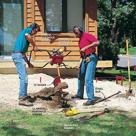 <b>Photo 6: Dig holes for footings</b></br> <p>Set aside the beam strings and dig 12-in. dia. postholes the correct depth for your area. Solidly pack the loose soil at the bottom of the holes with the end of a 2x4 and pour a 60-lb. bag of premixed concrete into the holes to form an 8-in. thick footing pad.</p>