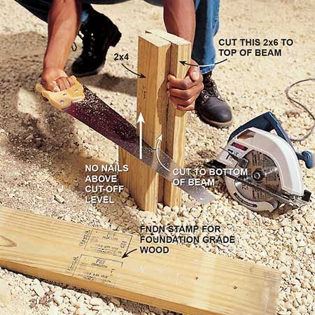 <b>Photo 9: Cut the posts</b></br> <p>Cut off one 2x6 and the middle 2x4 with a circular saw. If your posts will show, you may want to cut off the 2x6 away from the house. Complete the cut with a handsaw. Cut off the longer 2x6 even with the top of the ledger.</p>