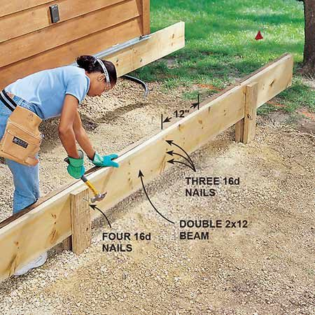 <b>Photo 10: Nail the beams</b></br> <p>Set the double 2x12 beam on the posts and fasten it to the long 2x6 with 16d galvanized box nails. Nail the 2x12s to each other with three nails every 12 in., one close to each edge and one in the middle. Be sure the beam projects several inches past the edge of the deck for later trimming.</p>