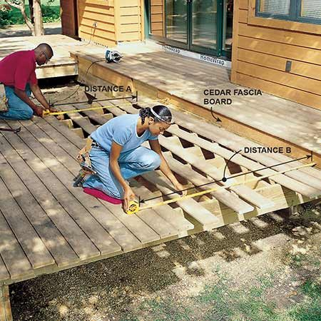<b>Photo 15: Fasten the decking</b></br> <p>Fasten the decking with ring-shanked 10d stainless steel nails, composite decking screws or hidden fasteners, working from the outside of the deck toward the house using 16d nails for spacers. Let the decking hang over the end joists at least 2-1/2 in. Measure from the house side of the deck every five or six boards to confirm that the decking is running parallel to the house (distances A and B) and make small spacing adjustments as necessary. Leave off the last piece of decking because the house will block the last cut made by the circular saw.</p>