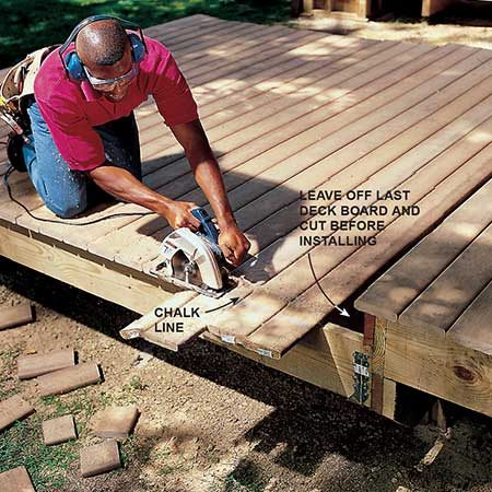 <b>Photo 17: Cut the overhang</b></br> <p>Cut off the excess decking. Measure the final cut lengths of the deck boards and cut the last deck board to length, rip it to width if necessary, and install it.</p>