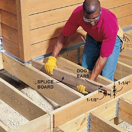 <b>Photo 18: Nail in the seam piece</b></br> <p>Cut notches in a piece of decking so that it protrudes above the joists 1-1/4 in. (flush with the top of the decking), away from the deck edge and even with the decking overhang.</p>