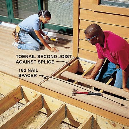 <b>Photo 19: Complete the seam</b></br> <p>Nail the notched piece to the side of the joist. Nail a second joist against it and toenail the joist into the rims. Nail the decking, leaving a gap between the splice board and the end of the decking.</p>