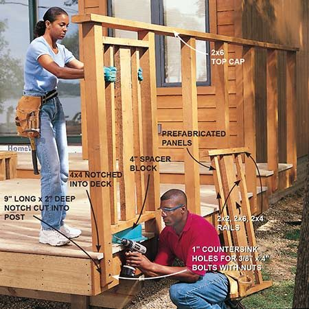 <b>Photo 25: Build the fence</b></br> <p>Notch 4x4s and decking and cut 4x4s to length (4-ft. 10-1/2 in. above deck). Plumb posts with a 4-ft. level and bolt to rim of deck after predrilling 1-in. countersink hole and boring a 3/8-in. hole through the post, cedar trim and end joist. Nail on a 2x6 top cap and install premade panel assemblies by toe-screwing into the side of the posts.</p>