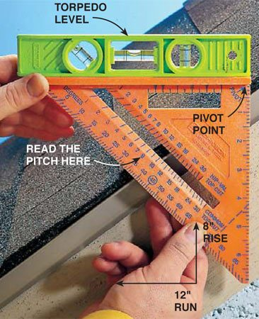 <b>Photo 1: Finding roof pitch</b></br> <p>Place the pivot point against the shingles. Then place a torpedo level on the fat base of the square and adjust the square until the level is level. Read the pitch on the side of the square.</p>