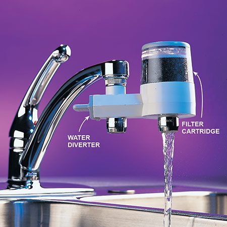 <b>Photo 1: Carafe or faucet filter</b></br> <p>1. First buy a carafe or faucet filter to see if it improves the taste and appearance of your water. They're inexpensive and easy to install and use, and they contain filter elements that are similar to more expensive types. However, they're usually low volume, require more frequent cartridge changes, cost more per gallon in the long run and clutter the sink area.</p>