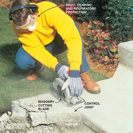<b>Photo 4: Cutting sidewalks and other slabs—with a standard circular saw</b></br> <p>Use a standard circular saw, equipped with a corundum or diamond blade, for small tasks. For slabs, it's best to cut through the top inch, then use a sledgehammer to break off the rest. The jagged edge left below the cutting line provides a good rough edge for the new concrete to bond to.</p>