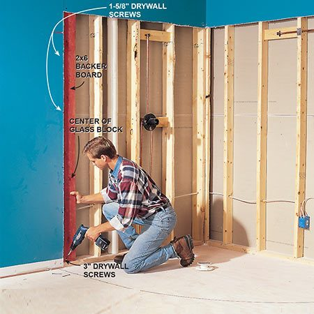 <b>Photo 3: Open the walls</b></br> <p>Cut the drywall so that the seam of the drywall and cement board falls halfway behind the glass block, and install backers in the stud wall to support the cement board/drywall seam. Cut the top of the drywall at 6 ft. 2 in. above the plywood floor to allow for the slope fill and two layers of 3-ft. wide cement board.</p>