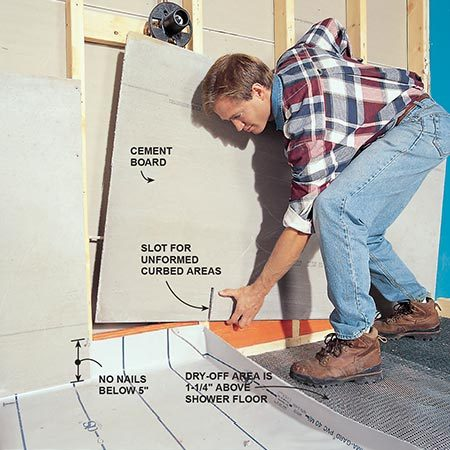 <b>Photo 9: Attach the tile backer board</b></br> <p>Install cement board over the vinyl liner and screw it to the studs with coated cement board screws every 8 in. Cut slots in the cement board to go over curbed areas against the walls. Tape the seams with fiberglass tape and thin-set mortar.</p>