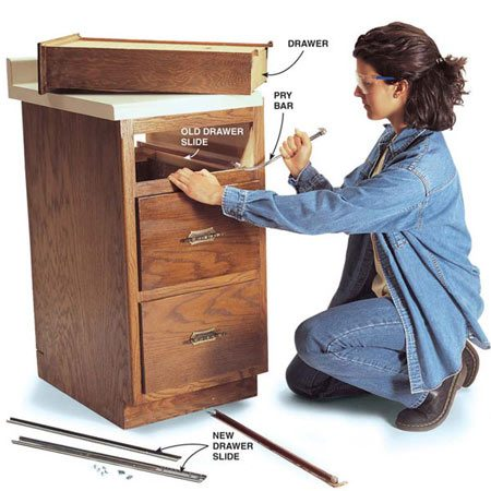 <b>Photo 1: Remove drawer and slides</b><br/>Pry the old drawer slides from the cabinet and from the bottom of the drawer.
