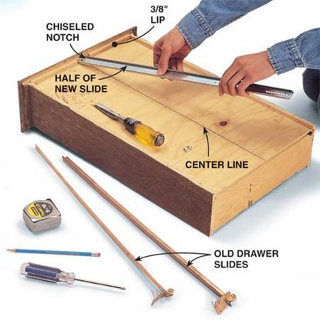 <b>Photo 2: Attach new slide to drawer bottom</b></br> Draw a line down the center of the drawer bottom. If your drawer has a 3/8-in. lip, chisel a notch as shown. Align the top half of the slide over the center line and attach it to the drawer with one screw in front and one in back. The back of the slide will probably overhang the drawer.
