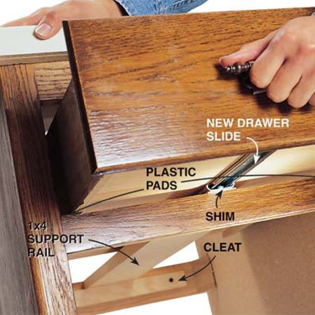 <b>Photo 5: Slide drawer into cabinet</b><br/>Slide the drawer into the opening. Align the two halves of the drawer slide and push the drawer all the way in to connect them. Test the operation of the drawer. Remove the drawer and adjust the slides if necessary. Then tighten all of the screws.