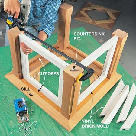 <b>Photo 4: Attach the brick mold frames</b></br> Assemble brick mold frames between the posts. Pre-drill and countersink the holes before driving screws. You may have to draw the posts together or spread them apart to make the top piece of brick mold fit. Screw the bottom and sides of the frames to the posts and screw the top piece to the sides. Remember to fasten the beveled cut-offs to the sill with nails and construction adhesive before you install the brick mold. Fig. A shows the details.