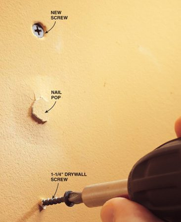 <b>Photo 1: Drive new screws</b></br> Refasten the drywall with 1-1/4-in. drywall screws. Drive the screws until they are recessed but don't break through the paper covering on the drywall. If you accidentally drive a screw too deep, add another screw alongside it.