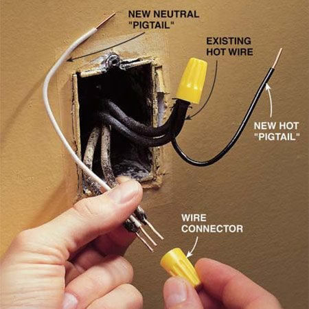 "<b>Photo 2: Install new ""pigtails""</b></br> Disconnect the wires from the old receptacle and straighten the bent ends. Cut 6-in. ""pigtails"" of white and black wires and strip 5/8 in. of insulation from both ends."