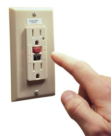 <b>Testing your GFCI</b></br> Push the test button on your GFCI. The power from the receptacle will be stopped. Press reset to restore power from the GFCI.